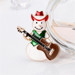 IndIan guItars online shopping - New Gold Plated Funny Cute Brooches For Women Kids Fashion Red Green Enamel Snowman Play Guitar Christmas Brooch Pin Jewelry DB