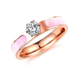 $enCountryForm.capitalKeyWord Canada - Rose Gold Color Fashion Simple Lady's Gemstone Rings Stainless Steel Ring Jewelry Gift for Women Girl can Mix Order 584