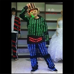 club clothes bar UK - TC-106 Electro-optical dance clothes full color light led costumes ballroom bar club stage robot wears hats led glasses suit catwalk models