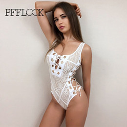 58f9fea44c8 Wholesale-Pfflook Brand New Swimming Suit Sexy Solid Lace Print Sandy Beach  Double Shoulder Strap One-pieces Low Chest Bandage Swimsuit