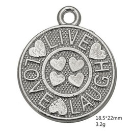 $enCountryForm.capitalKeyWord Australia - Silver Plated Live Love Laugh Round Disc Pendant Charm for DIY Bracelet