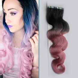 Discount tape hair extensions body wave - T1B Pink Ombre Tape In Human Hair Extensions 100G skin weft virgin Body Wave 40Piece tape adhesives for tape hair extens