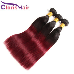 99j red straight human hair 2021 - Silk Straight Burgundy Ombre Human Hair Bundles Raw Indian Virgin Hair Weave Two Tone 1B 99J Wine Red Ombre Hair Extensions 3pcs