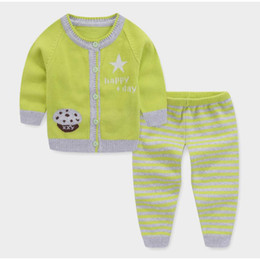 $enCountryForm.capitalKeyWord Canada - newborn baby spring autumn clothing sets cotton cardigan sweaters infant boys sweater sets knitting sleep wear outfits