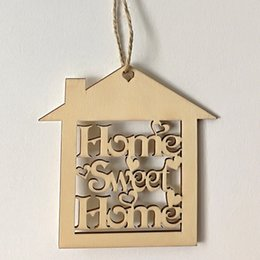 $enCountryForm.capitalKeyWord Australia - Home Sweet Home Wooden Ornaments Engraved Laser Cut Wood Hanging Hemp Rustic Wedding Warm Favors Christmas Tree Ornaments Gifts Wood Crafts