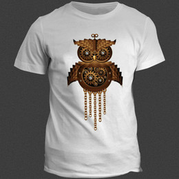 d870b42eb4f27 White T Shirt Print Owl Canada - Machine night owl t shirt Wheel gear bird  short