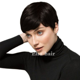 short brazilian hair styles UK - New style fluffy black short hair human hair wig Short Brazilian Bob pixie Cut Wigs suitable for all kinds of people