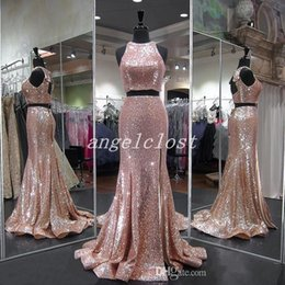 $enCountryForm.capitalKeyWord Australia - 2019 Rose Gold Two Pieces Mermaid Prom Dresses Hollow Back Sweep Train Sequined Long Formal Evening Party Gowns abiti da ballo Plus Size