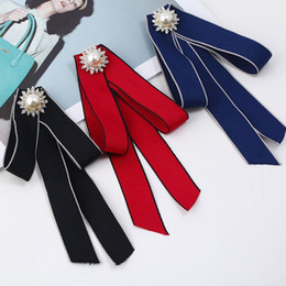 bohemian clothes for wholesale Australia - 2018 Retro Pearl Necktie Brooch Shirt Professional Business Bow Tie For Women Clothing Wedding Brooches 3 Colors Wholesale