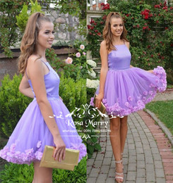 Flower Girls Size 16 NZ - Plus Size 3D Floral Short Homecoming Dresses 2020 A Line Lavender Pink Knee Length Cheap Sweet 16 Girls Graduation Prom Party Gowns