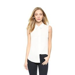 plus size button down blouses 2019 - Dioufond Chiffon Solid Shirt Women Casual Sleeveless White Blouse Turn Down Collar Slim Ladies Top 6xl Plus Size Blusa F