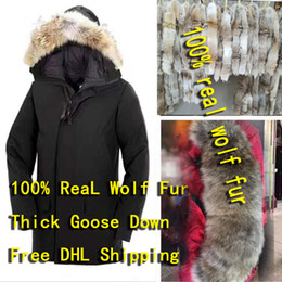 black wolf hat NZ - 100% authentic Wolf fur collar men's windbreaker overcoat snow thick down jacket over heavy windproof coat mountain Wolf fur collar down jac