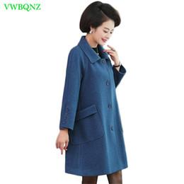 305f830e741 Women Casual Wool Coat Autumn Winter Warm Cloak Plus size Woolen Jackets  Middle-aged women Loose High quality Cashmere Coats 989