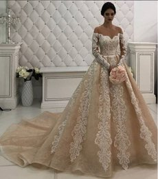 cheap wedding dresses champagne color Canada - Champagne Lace Luxurious 2018 Wedding Dresses Sheer Neck Long Sleeves Bridal Dresses Vintage Cheap Wedding Gowns