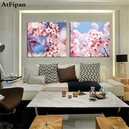 $enCountryForm.capitalKeyWord Australia - AtFipan 2PCS Cherry Blossoms Pink Flowers Pictures Painting Wall Picture for Living Room Canvas Paintings No Frame