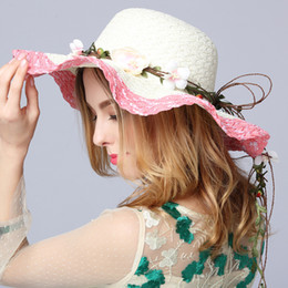 ladies black straw spring hats NZ - Designer Ladies Elegant Big Flower Straw Beach Hats With A Bow Women Spring Summer Foldable Sun Cap Wide Brim Visors Lady Church Bucket