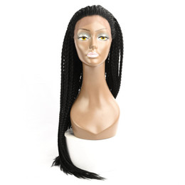 Chinese  30'' Box Braids Lace Frontal Wig Synthetic Crochet Briaids Adjustable Size African American Afro Braiding Hair for Black Women manufacturers