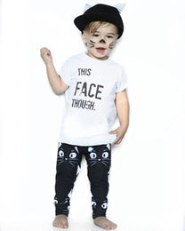 Baby Boy Clothes 2018 New Summer Infant Toddler Bambini Neonati maschi Lettera Tops T Shirt + Cartoon Cat Pants 2PCS Baby Outfits Set
