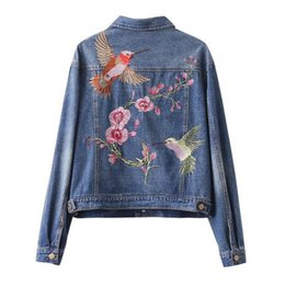 embroidered womens coats UK - Vogue Spring Womens Flowers And Birds Embroidered Denim Jacket Coats Outwear New