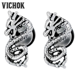 $enCountryForm.capitalKeyWord Canada - Chinese Dragon Design Stud Earrings 316L Stainless Steel Stud Earrings Vintage Gothic Punk Rock Earrings Fashion Jewelry for Men