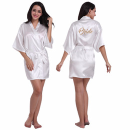 9c2135d1c1 Silk Satin Wedding Bride Bridesmaid Robe Floral Bathrobe Kimono Robe Night  Bath Fashion Dressing Gown For Women 2018