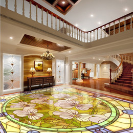 Discount free wood flooring - Free shipping custom Orchid marble parquet flooring thickened self-adhesive living room chinese style 3d floor murals wa