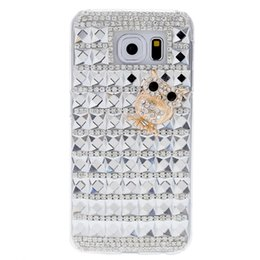 S6 pattern caSe online shopping - For Samsung Galaxy S6 PC Phone Protect Case Bling Crystal with Special Metal Owl Pattern Design