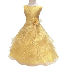 Chinese  Baby Girls Party Dress with Hoop Inside Kids Embroidered Flower Girl Wedding Communion Princess Graduation Gown Formal Children Clothes manufacturers