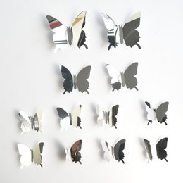 $enCountryForm.capitalKeyWord NZ - 12Pcs 3D Mirror Effect Butterfly Wall Sticker Art Decor Decals for Home Decoration or Party Decoration