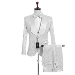 Handsome Groomsmen White Pattern Groom Tuxedos Shawl Satin Lapel Men Suits Side Vent Wedding Prom Best Man ( Jacket+Pants+Vest+Tie )K950