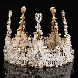 Hair crown cHain online shopping - 2018 Vintage Luxury Bridal Tiara Jewelry Rhinestone Pearl Royal Crown For Wedding Accessories Bling Wedding Hair Accessories Wedding Tiara