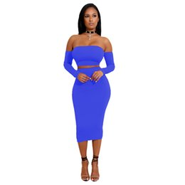 $enCountryForm.capitalKeyWord NZ - Women Long Sleeve Off Shoulder Knee-length Two Piece Set Bodycon Sexy Bandages Dress color white blue red navy green