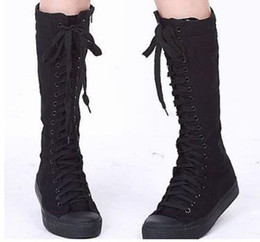 $enCountryForm.capitalKeyWord NZ - Hot Sale Women's Canvas Boots Lace Zip Knee High Boots Women Boots Flats Casual Punk Shoes Girls Botas Mujer Brand Canvas Shoes
