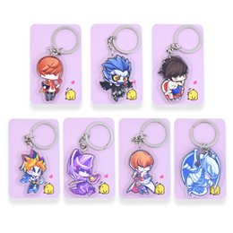 Death Note Key Chians Chibi Yu Gi Oh Cartoon Keyrings Double Sided Cute Anime Acrylic Keychain Accessories PCB21 27