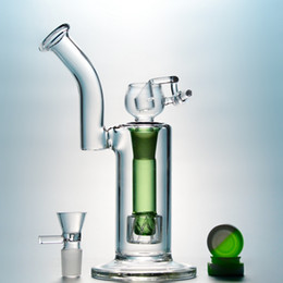 $enCountryForm.capitalKeyWord Australia - 25pcs Small Glass Water Pipes Reti Perc Glass Bong Two Cylinders Oil Dab Rig Bubblers With Gifts Blue Green Hookahs DHL Free WP109
