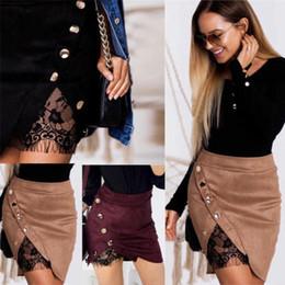 preppy women s clothing 2019 - 2017 Women Mini Skirts Button Split High Waist Suede Leather Pocket Preppy Short Warm Autumn Winter Clothing cheap prepp
