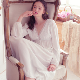 fa8a32616a Spring Autumn Vintage Nightgowns V-neck Ladies Dress Princess White Sexy  Sleepwear Solid Lace Home Dress Comfortable Nightdress