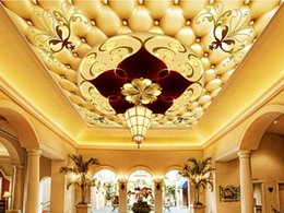 mediterranean ceilings Canada - Luxury Customized 3d Photo Wallpapers Ceiling Murals 3d European Villa Hotel Lobby Large Frescoes Wall Paper Room Decoration