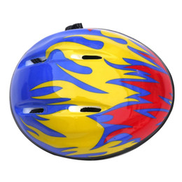 Discount kids safety helmets - Kids Bicycle Cycling Safety Helmet Outdoor Sports Skating Riding Protective Helmet - Blue Fire Pattern