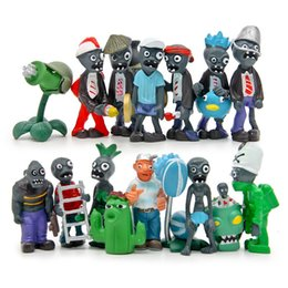 Plants Vs Zombie Figures NZ - DHL Free shipping 16pcs set Plants vs. Zombies Toys Bucket Zombie 5.5-7.5cm PVC Minifigures Action Figures gift Ornaments H058