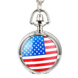 $enCountryForm.capitalKeyWord UK - Fashion Men Women Vintage Quartz Pocket Watch Alloy USA Flag Unisex Sweater Chain Necklace Pendant Clock Gifts LXH