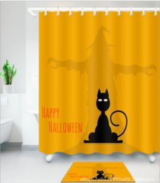 cat shower curtains NZ - Halloween cat pattern 3D Print Custom Waterproof Bathroom Modern Shower Curtain Polyester Fabric Bathroom Curtain Door mat sets