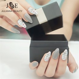 Grey Silver Glitter Hand Painted False Fake Nails Medium Round Oval Size Small