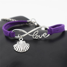 $enCountryForm.capitalKeyWord NZ - Trendy Purple Leather Wax Cord Infinity Love Sea Shell Conch Seashell Bracelets & Bangles Women Men Original Designs Jewelry Gifts Low Price
