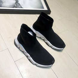 Chinese  New Fashion Men and Women Designer Shoes Paris Famous luxury Speed Trainer with white texture sole Top Quality Sneakers Mens Sock Shoes manufacturers