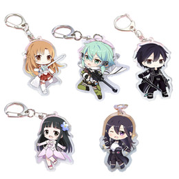 Discount sword art cosplay - Anime Keychain Sword Art Online Figure Llavero Kirito Asuna Yuuki Yui Sinon Cosplay Acrylic Pendants Keyrings Key Holder