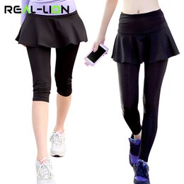c2fb7f4d0bca1 Fake Two-Pieces Yoga Tight Pants Skirt Women 3 4 Ankle Length Yoga Leggings  and Skirt for Running Tennis Gym Sports S M L XL XXL