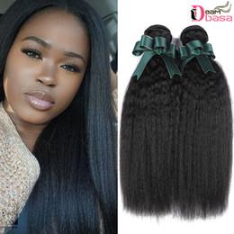 kinky straight hair extensions 2019 - Wholesale Kinky Straight Curly Extension 00% Brazilian Human Virgin Hair Yaki Culry Weaves Cheap 8A Brazilian Human Hair