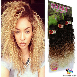 """Black Brown Curly Hair Extensions NZ - New Production synthetic weave hair extensions 14""""16""""18"""" Jerry curly freetress Crochet braids ombre brown synthetic hair for black"""