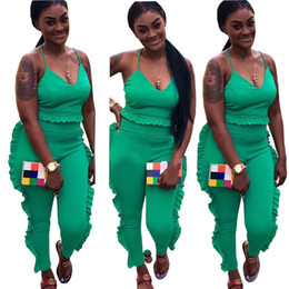 Ladies Leisure tracksuits online shopping - V Neck S Tracksuit Two Piece Sets Sleeveless Ruffle Top And Pants Ladies Streetwear Leisure Suit Jogger Outfits Women Set Female